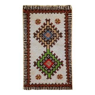 1960s handmade vintage Moroccan Berber rug 1.7' x 2.8' For Sale