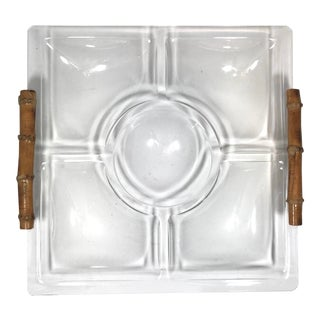 Lucite and Bamboo Serving Tray For Sale