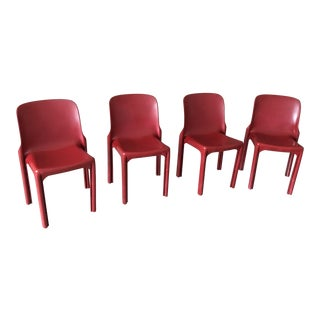 1980s Vintage Vico Magistretti Stacking Chairs- Set of 4 For Sale
