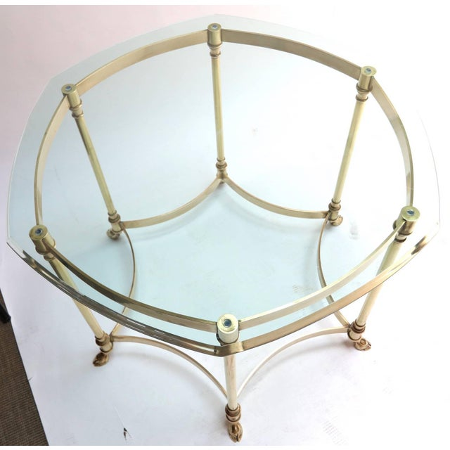 Mid-Century Modern Hexagonal Brass Side Table With Glass Top and Goat Feet For Sale - Image 3 of 10