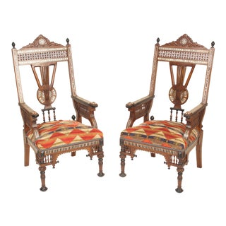 Late 20th Century Vintage Middle Eastern Armchairs- A Pair For Sale