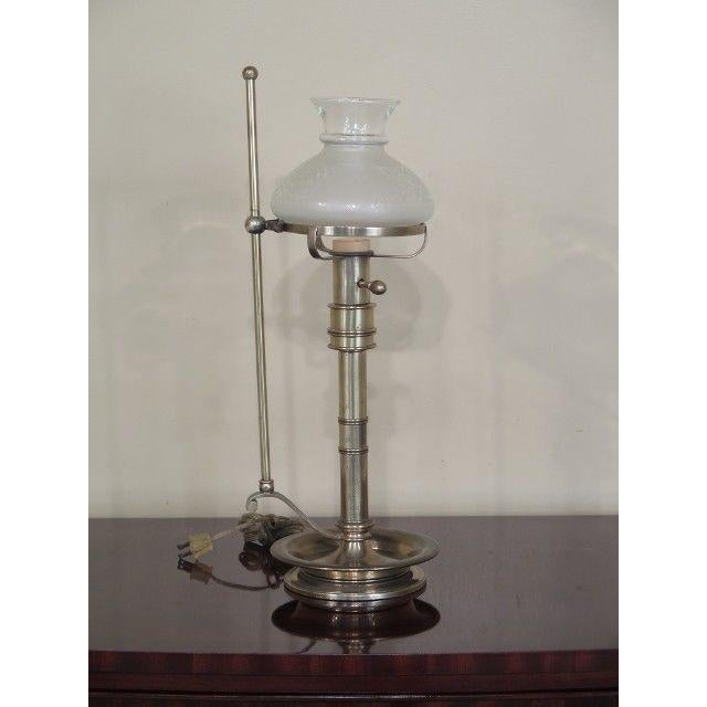 Frederick Cooper Brass Oil Lamp Style Table Lamp With Globe For Sale - Image 11 of 11