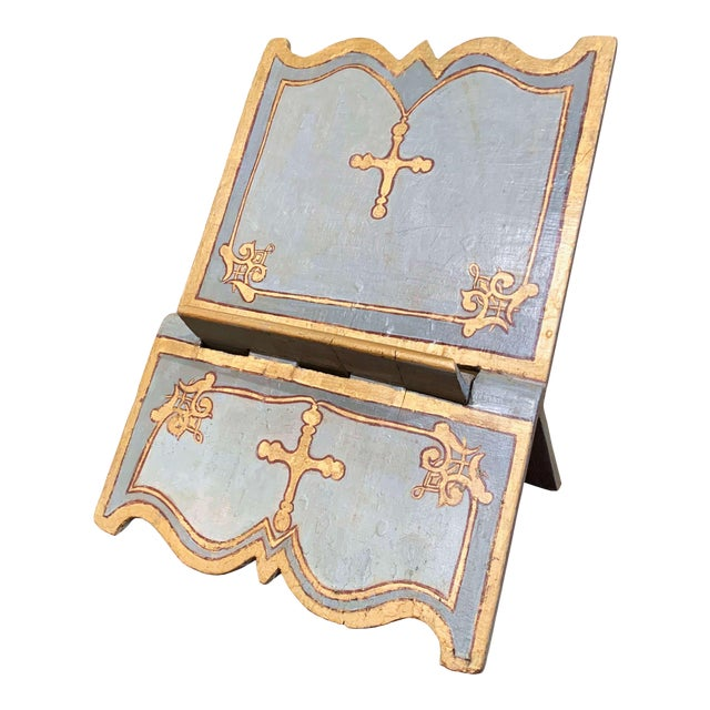 18th Century Italian Carved Giltwood and Painted Holy Bible Folding Book Stand For Sale
