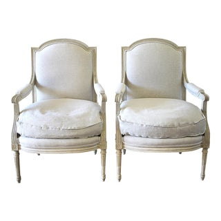 Louis XVI Style Painted and Natural Linen Upholstered Arm Chairs - a Pair For Sale