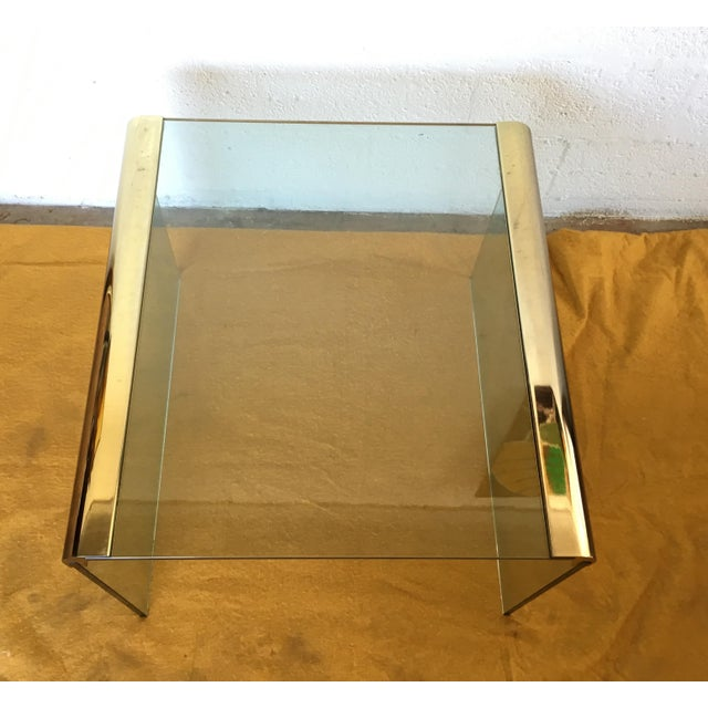 Vintage Leon Rosen Glass and Brass End Table for Pace Collection - Image 6 of 10