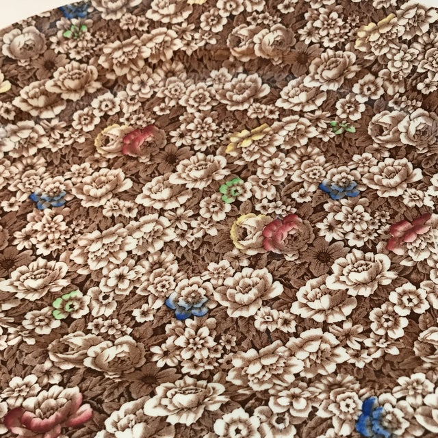 """This is a lovely brown chintz """"Rosalie"""" patterned platter by Empire England. The piece is from the 1940s."""