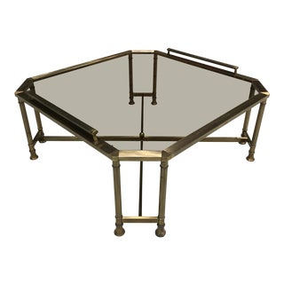 Mid-Century Modern Octagonal Brass Profile Glass Top Coffee Table by Mastercraft For Sale