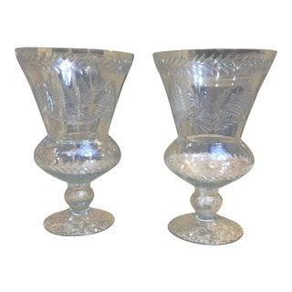 Early 20th Century Antique Etched Glass Hurricanes - A Pair For Sale