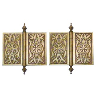 Victorian Solid Brass Hinges - Pair For Sale