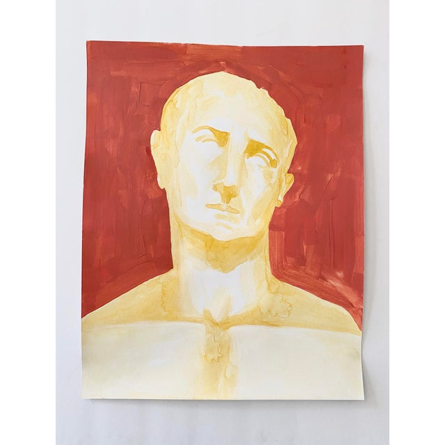 Original acrylic painting on paper of a bust of Roman emperor Trajan, by Lizzy Sise. The original bust is found in the...
