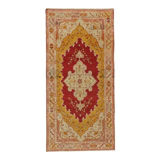 """Vintage Turkish Rich Terracotta Oushak Hand-Knotted Rug, 3'2"""" X 6'6"""" For Sale"""