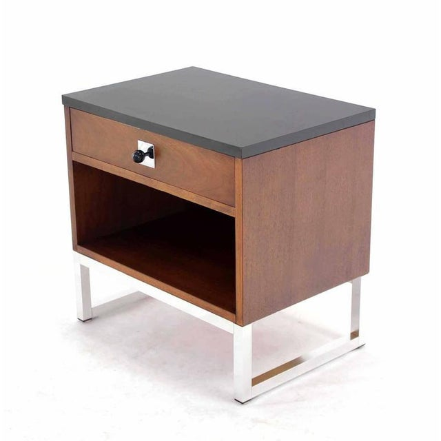 Pair of Walnut & Chrome Nightstands For Sale - Image 4 of 9