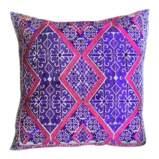 """Swati Silk Embroidered Pillow Purple $ Pink 24"""" X 24"""" For Sale"""