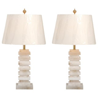 Gorgeous Pair of Vintage Marble Lamps For Sale