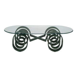 Verdigris Lacquered Elliptical Spirals Coffee Table For Sale