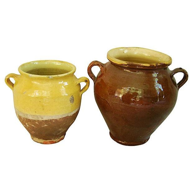 French Glazed Double Handled Confit Pots - Pair - Image 7 of 7