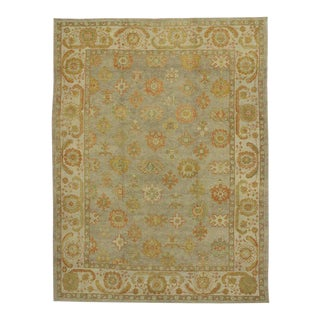 New Modern Turkish Oushak Rug with Transitional Style