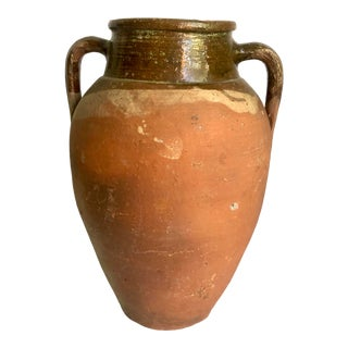 Vintage Turkish Natural Terracotta Jar With Brown Glaze
