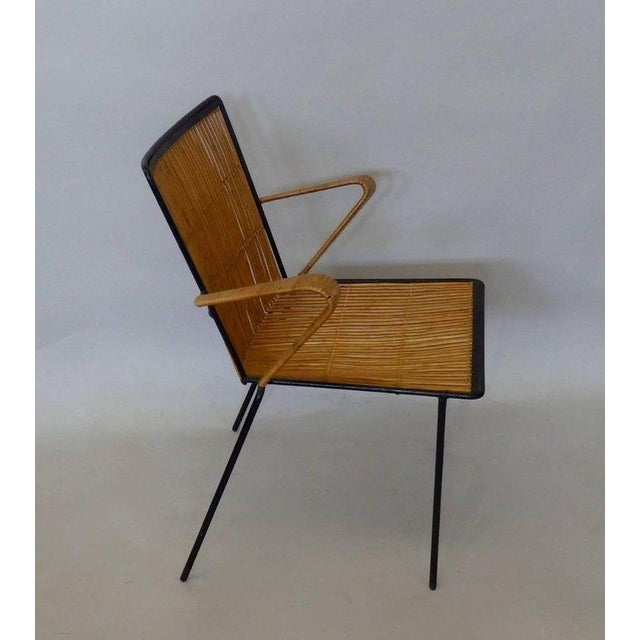 Wrought Iron Frame Franco Albini Style Rattan Chair For Sale - Image 9 of 10