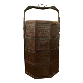 Antique Asian Tall Wood Wood Wedding Basket For Sale