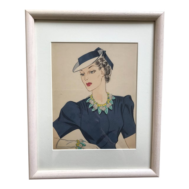 1940s Gouache Painting for Miriam Haskell Jewelry by Frank Hess, Framed For Sale