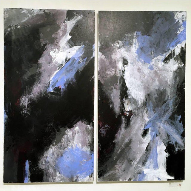 Stephanie Cate Abstract Europa 24 & 25 Diptych Acrylic Paintings on Wood Panel For Sale In New York - Image 6 of 6