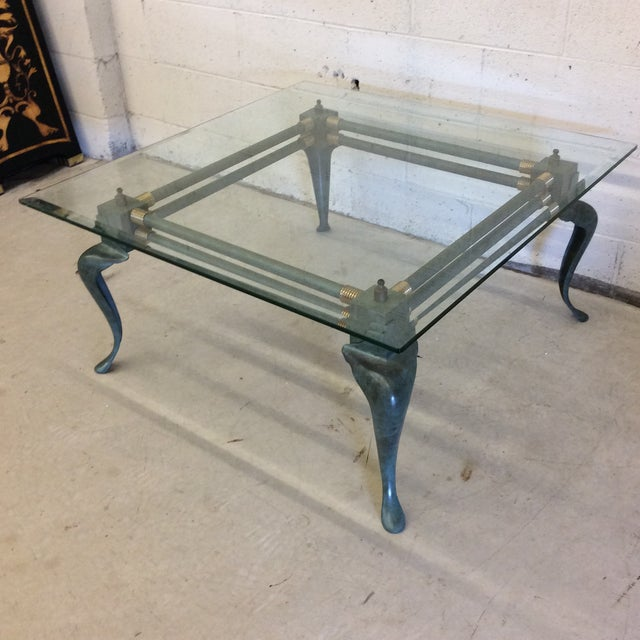 Hollywood Regency Verdegris Iron Patina and Brass Cabriolet Coffee Table For Sale - Image 3 of 10