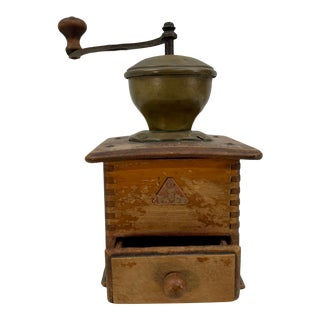 Antique Metal and Wood Coffee Grinder For Sale