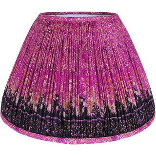 Pink/Navy Silk Sari Lamp Shade For Sale