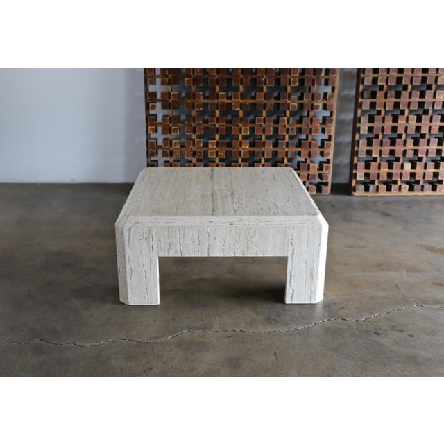 1980s Modernist Travertine Coffee Table Circa 1980 For Sale - Image 5 of 10