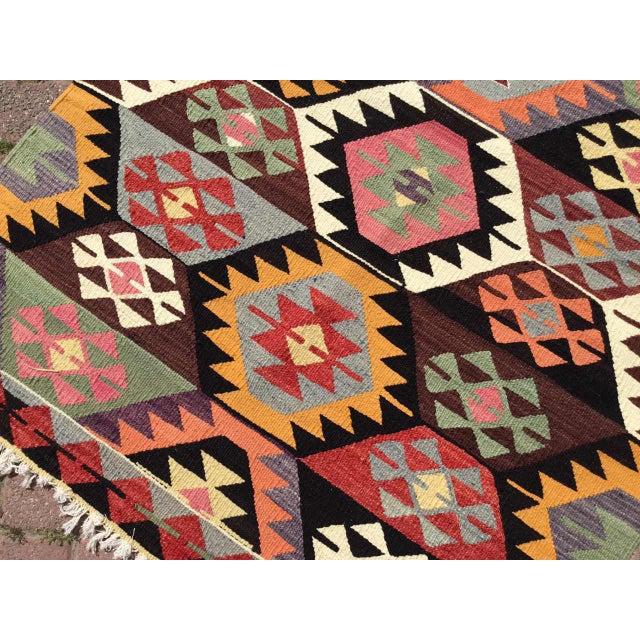 Textile Colorful Vintage Turkish Kilim Rug For Sale - Image 7 of 10