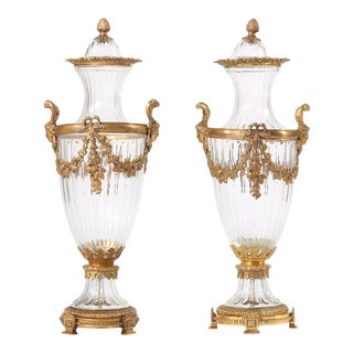 19th Century Pair Baccarat Crystal / Bronze Mounted Urns / Vases For Sale