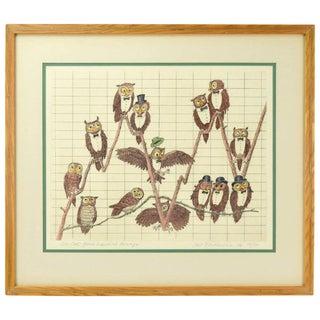 "1970s Vintage Curt Frankenstein ""De Owl Jones Industrial Average"" Lithograph Print For Sale"