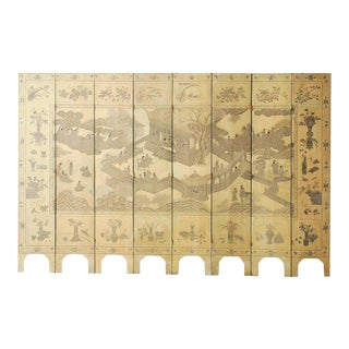 Chinese Eight-Panel Monochromatic Ivory Coromandel Screen For Sale