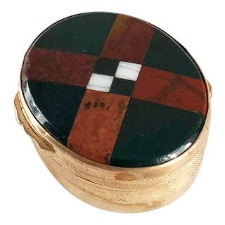 Antique Plaid Scottish Victorian Inlaid Bloodstone Chalcedony Agate Snuff Box For Sale