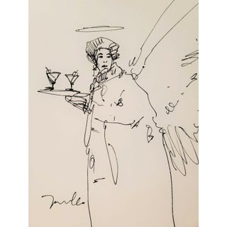 Contemporary Minimalist Ink Drawing of a Figure with a Tray by Jose Trujillo For Sale