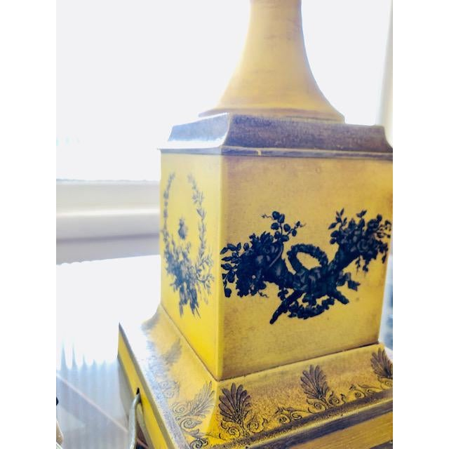 Neoclassical Yellow Tole Table Lamp With Tole Shade For Sale - Image 3 of 11