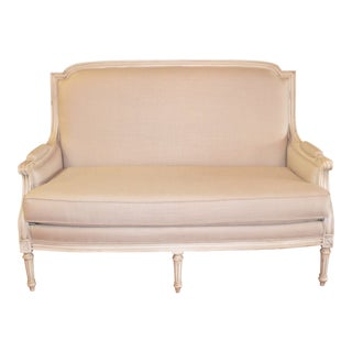Louis XVI Style Painted Sofa Upholstered in Belgium Linen Available for Custom Orderfor Custom Order For Sale