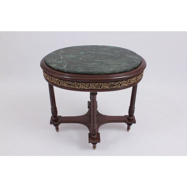 Green 1990s Vintage Green Marble Oval Accent Table For Sale - Image 8 of 8