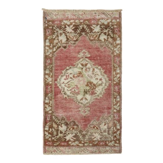 Floral Pink Mini Turkish Mat Rug, 1'9'' X 3'1'' For Sale