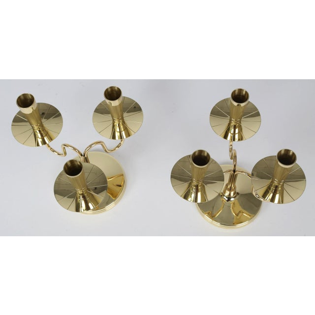 Dorlyn Silversmiths 1950's VINTAGE TOMMI PARZINGER SOLID BRASS CANDELABRA- A PAIR For Sale - Image 4 of 10