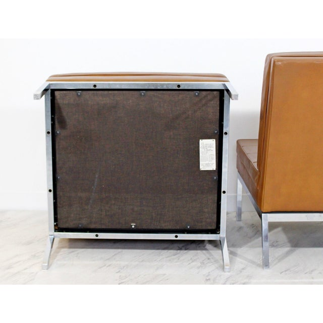 Brown Mid Century Modern Pair Vintage Knoll Chrome Leather Slipper Chairs Model #65 For Sale - Image 8 of 10