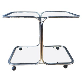 Milo Baughman Style Chrome & Glass Bar Cart For Sale