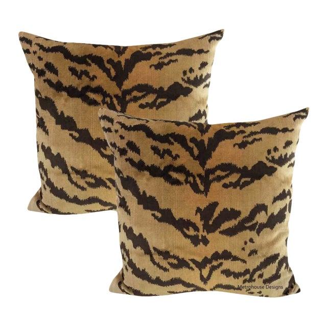 Nobilis of Paris Velvet Tiger Down Feather Accent Pillows - Set of 2 For Sale