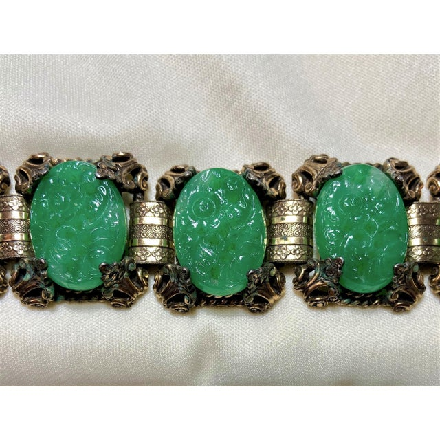 Mid 20th Century 1940s Ornate Gold Metal & Molded Jade Glass Bracelet For Sale - Image 5 of 9
