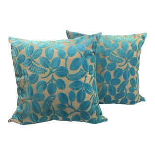 Blue Laser Cut Velvet Pillows - a Pair For Sale