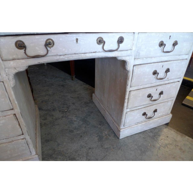 19th Century English XIX Painted Knee-Hole Partner Desk For Sale - Image 4 of 12
