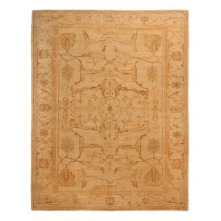 Contemporary Oushak Inspired Design Copper and Beige Wool Rug For Sale