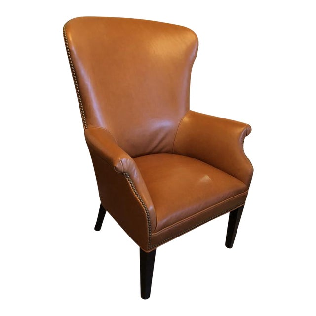 Williams-Sonoma Michelle Leather Wing Chair For Sale