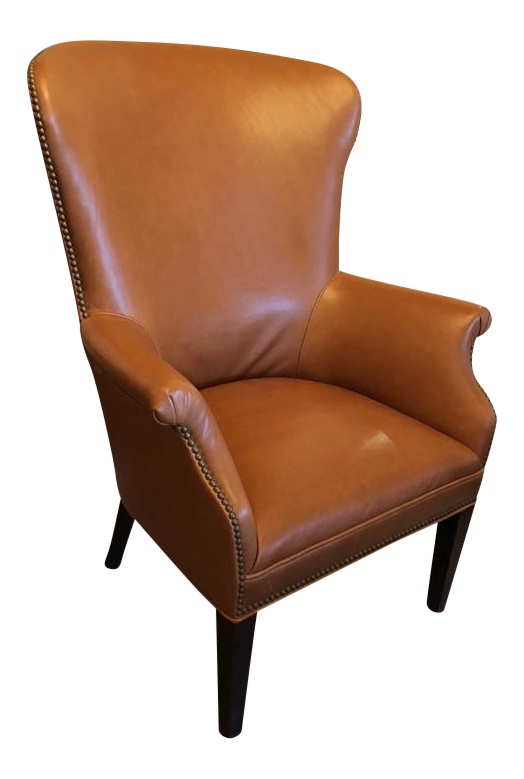 Williams Sonoma Michelle Leather Wing Chair